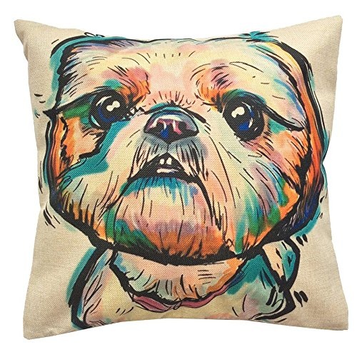Redland Art Cute Pet Shih Tzu Dogs Pattern Cotton Linen Throw Pillow Case Cushion Cover Home Decor