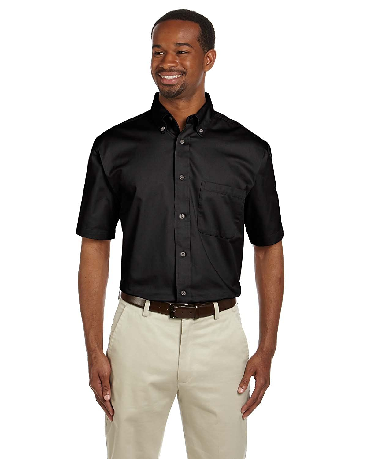 Harriton Mens Short-Sleeve Twill Shirt with Stain-Release M500S BLACK 2XL