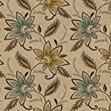 """K0124A Beige, Brown And Teal Floral Vines Woven Solution Dyed Indoor Outdoor Upholstery Fabric By The Meter 