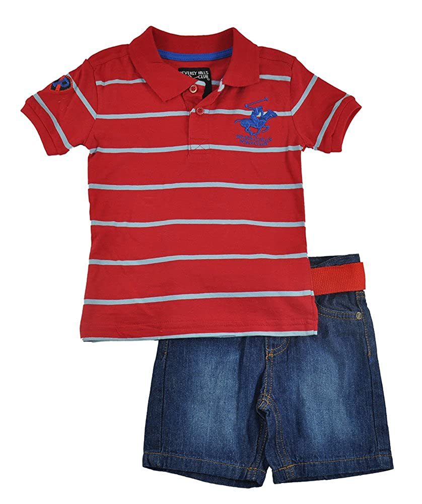 Beverly Hills Polo Club Baby Boys S//S Striped Red Polo 2pc Denim Short Set
