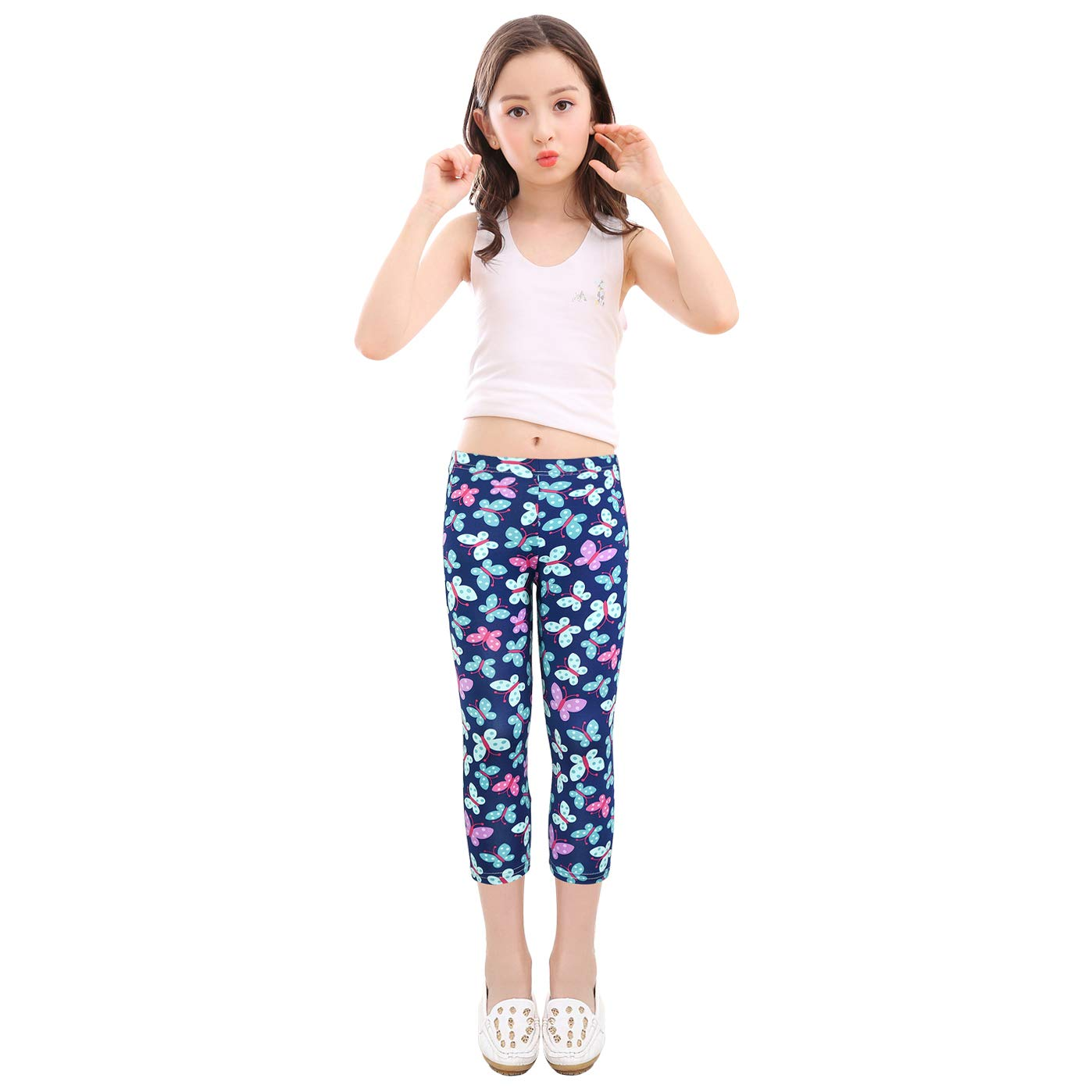 slaixiu 3-Pack Printing Flower Girl Leggings Kids Classic Pants 4-13Y(No.70_SADF_#130)