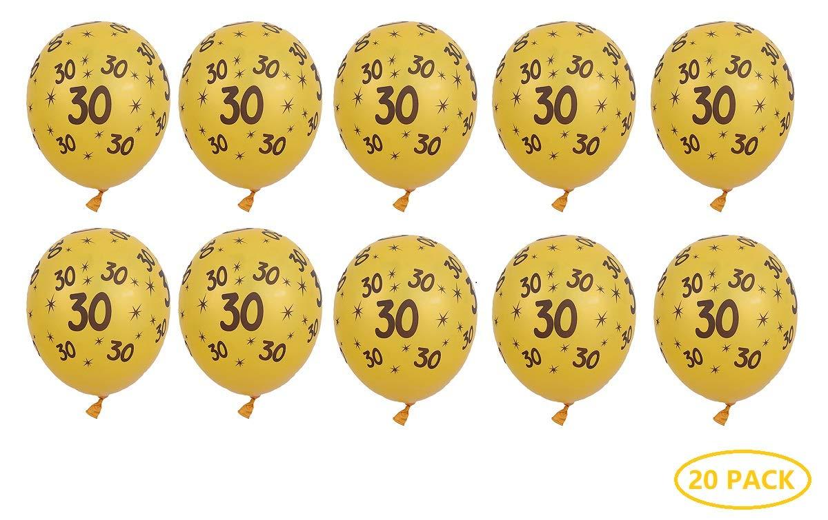Fontee® 20 Piezas 12 Pulgadas Látex 30 Cumpleaños Globos ...