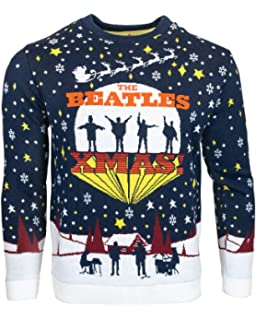 Image result for Official The Beatles Christmas Jumpers for Men Or Women – Ugly Novelty Gifts Xmas Jumper – 'Help' Album Artwork Unisex Knitted Sweater Design