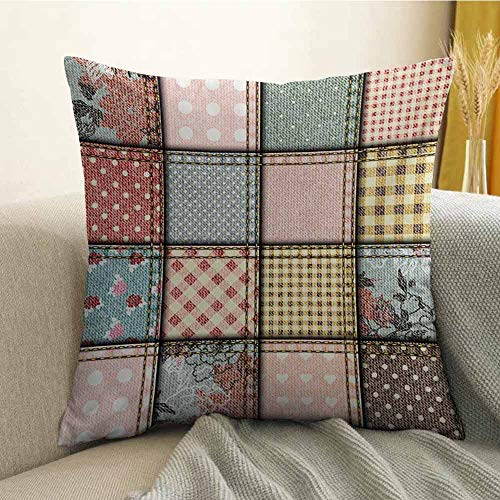 FreeKite Shabby Chic Silky Pillowcase Patchwork Denim Seem Fabric Pieces with Stitches Square Tile Digital Print Super Soft and Luxurious Pillowcase W16 x L24 Inch Multicolor