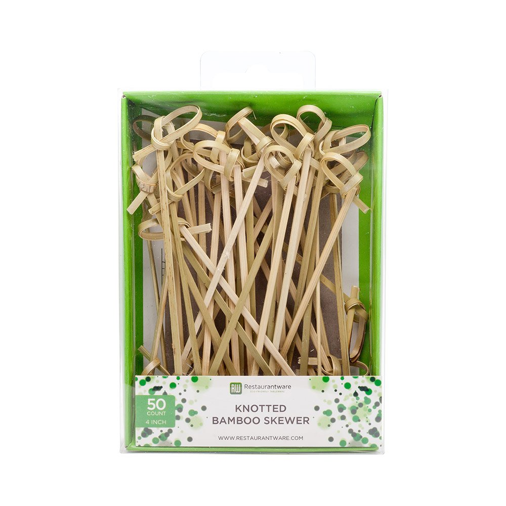 4-inch Brown Knotted Bamboo Skewers: Perfect for Serving Appetizers and Cocktail Garnishes 1000-CT Disposable and Eco-Friendly Restaurantware