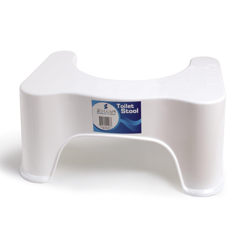 Premium Toilet Stool Step - Squat Aid Tool - Anti Constipation Heal - Healthier - White - 44,5cm Wide x 21cm Height x 28cm Long - Schukaps Home -