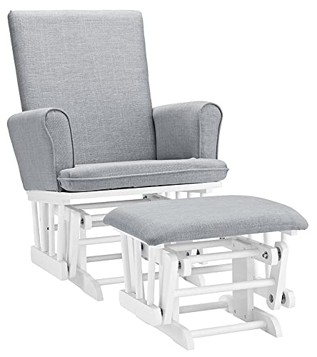 Angel Line Ashley Semi-Upholstered Glider and Ottoman, White with Gray Cushion
