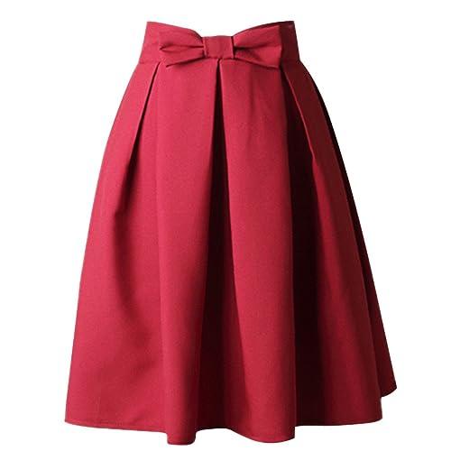 Uideazone fashion women`s summer midi pleated skirt, high waist, knee length skirt