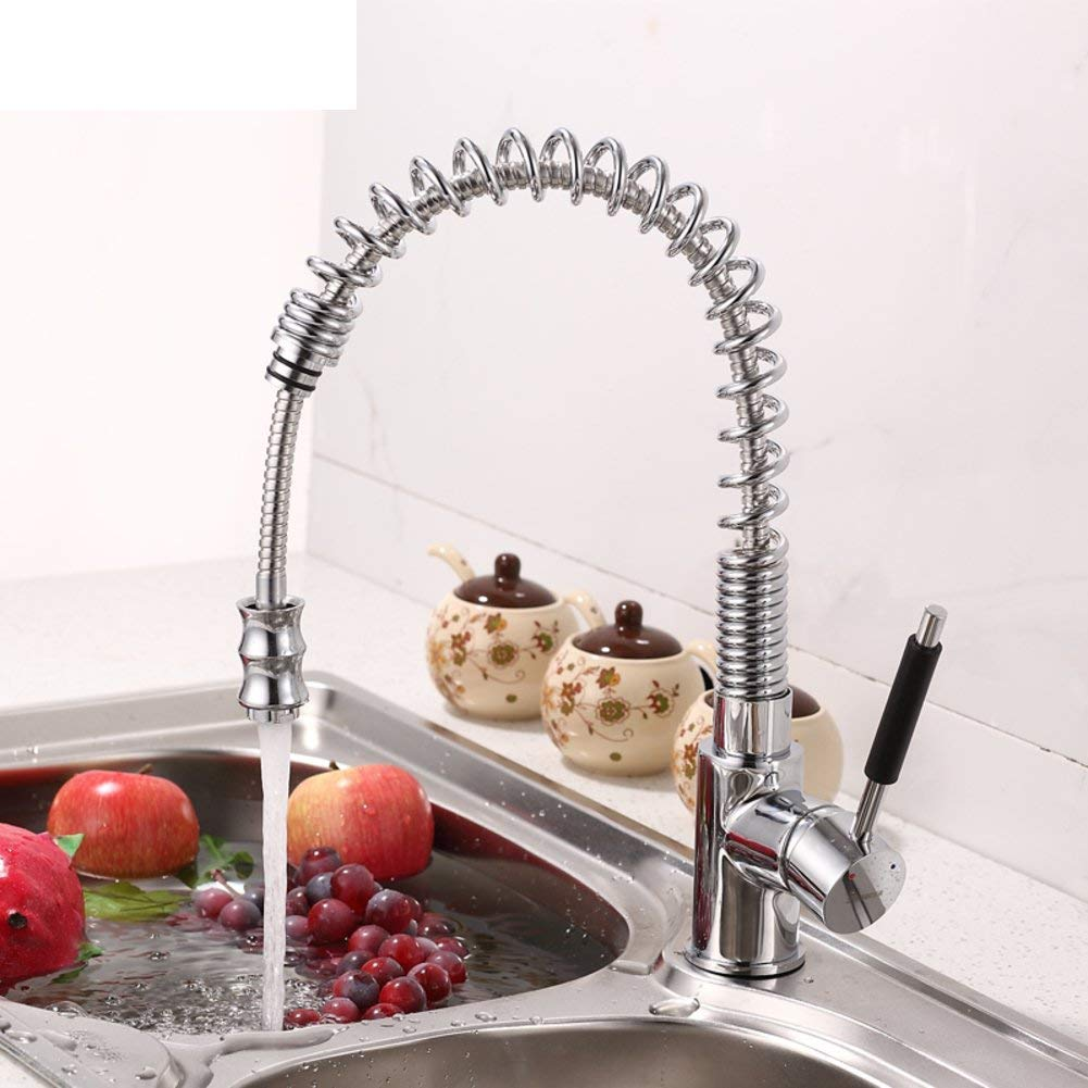 Oudan Kitchen Faucet Spring pull-out kitchen faucet-A (color   -, Size   -)
