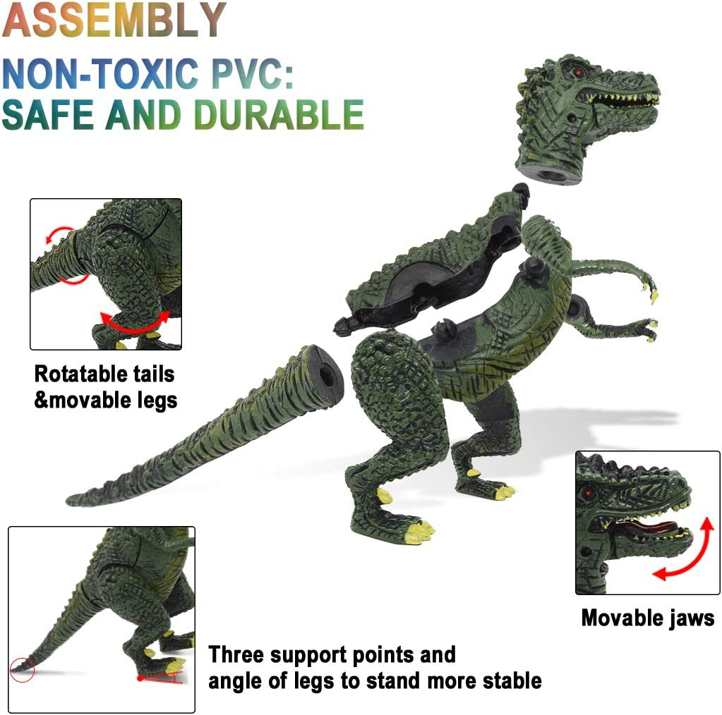 NVioToys Dinosaur Toys for Boys and Girls with Dinosaur Book 12pcs Realistic Dinosaur Toy Set with Movable Jaws