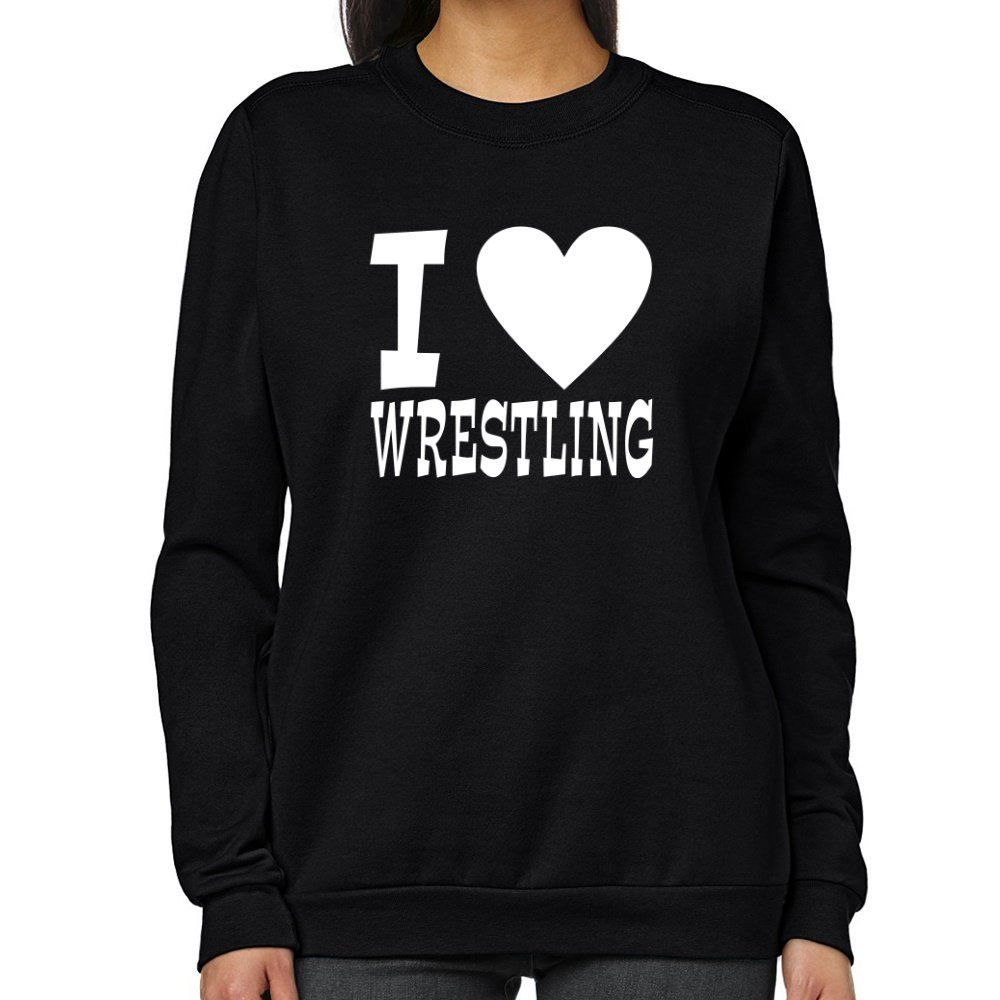 Teeburon I LOVE Wrestling Women Sweatshirt by Teeburon
