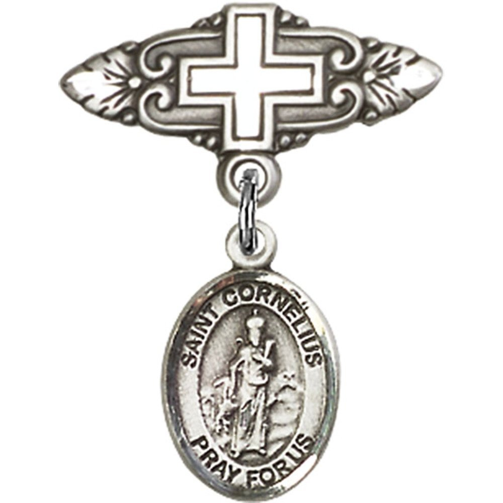 Sterling Silver Baby Badge with St. Cornelius Charm and Badge Pin with Cross 1 X 3/4 inches