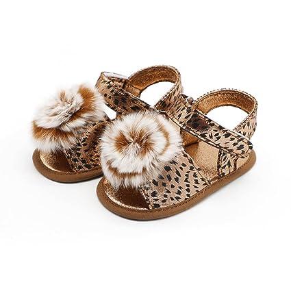 f8aa459ff92c YJYdada Infant Baby Girl Leopard Ball Crib Shoes Soft Sole Anti-slip Single  Shoes Sandal