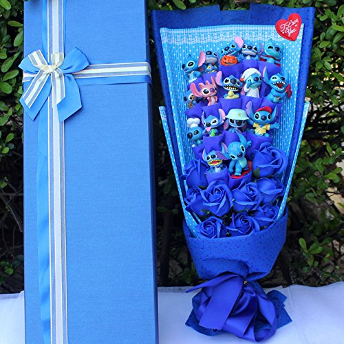 (Stitch Soup Flower Stitch Plush Toys Hot Model Anime Lilo and Stitch PVC Animal Dolls Kawaii Stich Bouquet Romantic Gift)