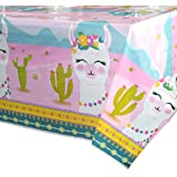 WERNNSAI Llama Table Cover - 71'' x 43.3'' Party Disposable Plastic Tablecloth Alpaca Lama Party Supplies for Kids Girls Pink Birthday Party Decorations
