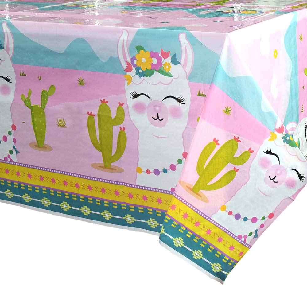 B07PZT8NXR WERNNSAI Llama Table Cover - 71'' x 43.3'' Party Disposable Plastic Tablecloth Alpaca Lama Party Supplies for Kids Girls Pink Birthday Party Decorations 61cypLTIiPL