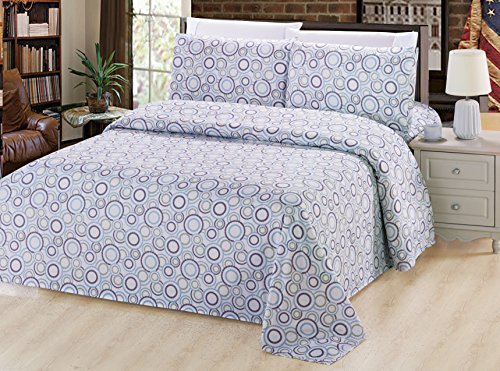 Quilted Multi Circle - Bamboo Living Eco Friendly Egyptian Comfortable 3 Pieces Duvet Cover Set with 2 Pillow Shams, Multi Circles with White Base Pattern, Blue, Green, Navy and White Color, Queen Size