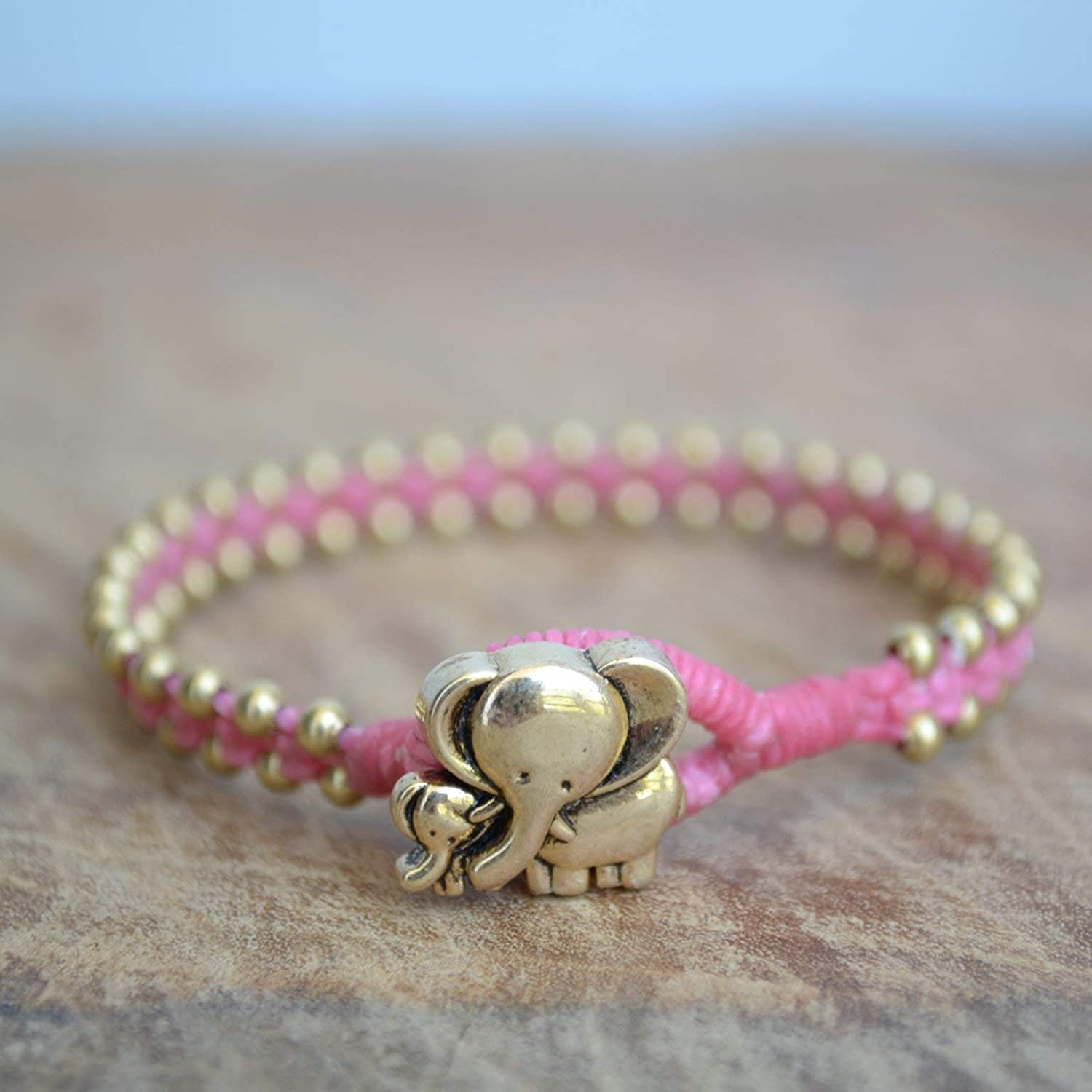 Good Fortune Elephant Charm Bracelet For Teenage Girls Or New Mom - Pink