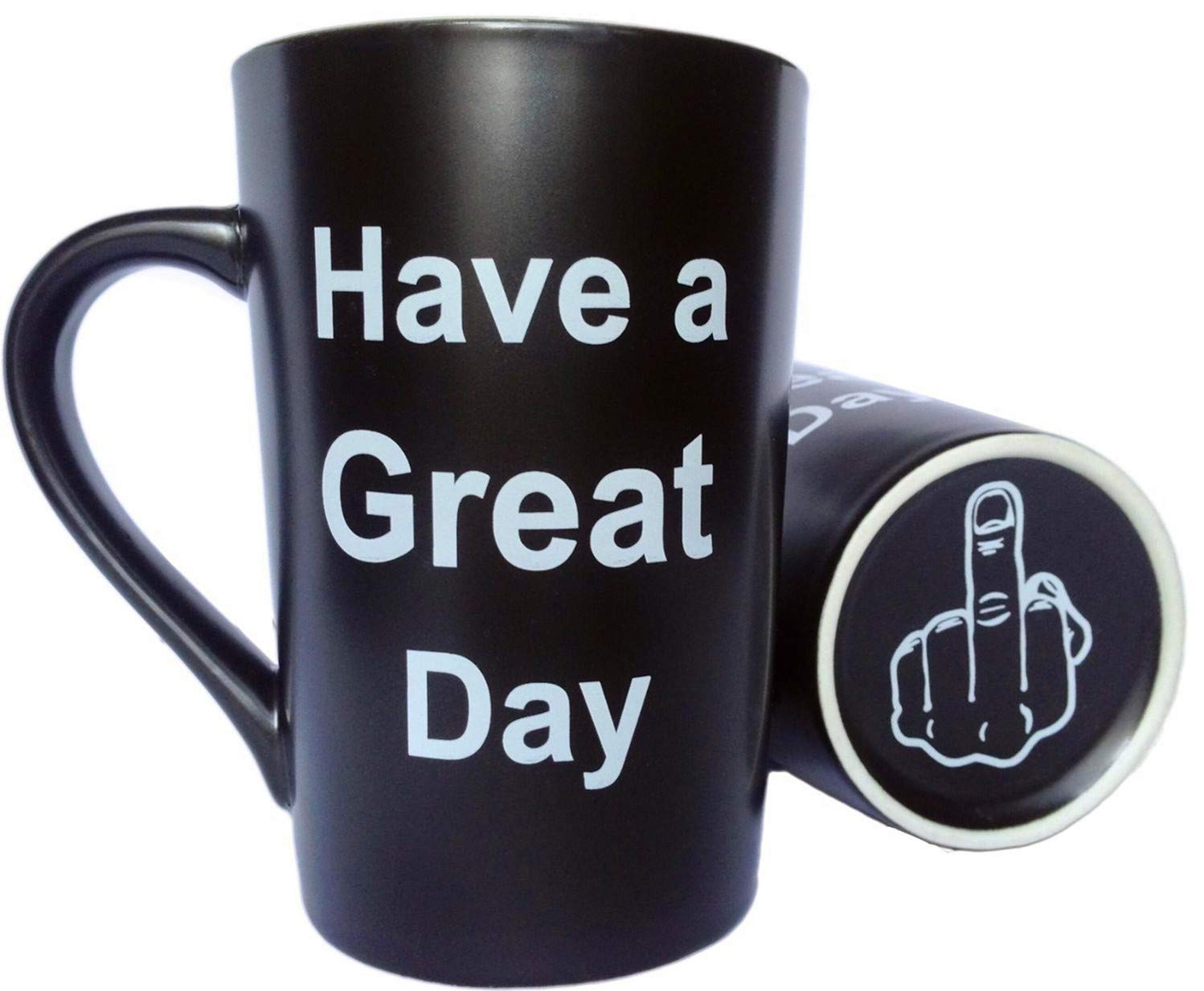 MAUAG Funny Unique Coffee Mugs - Have a Great Day Cute Cool Ceramic Cup Black, Best Holiday and Christmas Gag Gifts, 12 Oz