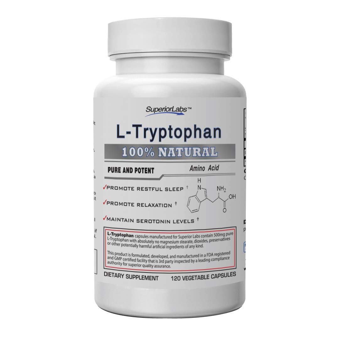 Superior Labs – Pure L-Tryptophan – 500mg, 120 Vegetable Capsules – Non-GMO Dietary Supplement – Restful Sleep & Relaxation – Maintains Serotonin Levels – Helps Improve Circulation & Reduce Stress.