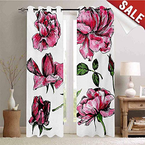 Floral Decorative Curtains for Living Room Garden Flowers Roses Buds Leaves Hand Drawn Sketchy Image Art Waterproof Window Curtain W108 x L96 Inch Hot Pink Pale Pink and - Pink Rosebuds Shade Chandelier