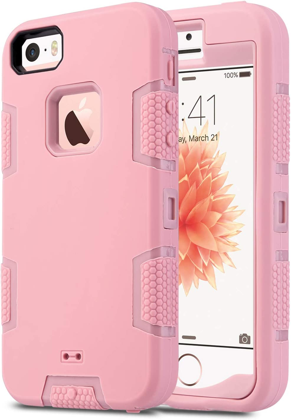 ULAK iPhone 5S Case, iPhone 5 Case,iPhone SE Case, Knox Armor Heavy Duty Shockproof Sport Rugged Drop Resistant Dustproof Protective Cover for Apple iPhone 5 5S SE -Rose Gold(Not fit iPhone SE 2020)