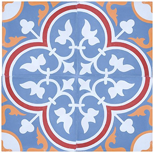 Rustico Tile and Stone RTS14 Roseton C Cement Tile Pack of 13, 8