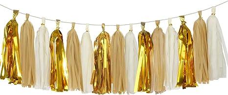 5 Piece Tissue Paper Tassel Garland DIY Kit gold foil
