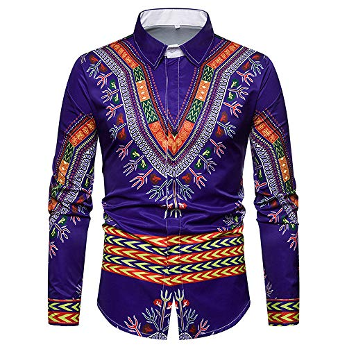 (GOVOW African Print Shirts for Men Big and Tall - Autumn Luxury Long Sleeve Dashiki Shirt Top Blouse(US:10/CN:XXL,ZZ-Blue))