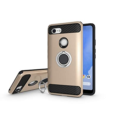 Newseego Compatible with Google Pixel 3 XL Case, Armor Dual Layer 2 in 1 and Finger Ring Holder Kickstand Fit Magnetic Car Mount for Google Pixel 3 XL-Golden: Electronics