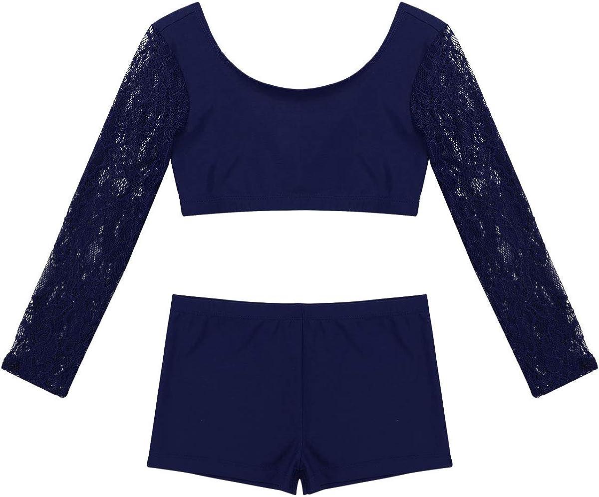 iEFiEL Kids Girls 2PCS Tankini Ballet Dance Sports Gym Workout Polka Dots Tank Top Bottoms