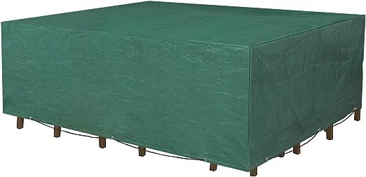 SONGMICS Funda Protectora para Muebles de jardín, 250 x 200 x 80 cm, para Mesas y Sillas de Patio, Cubierta Protectora Exterior, Impermeable, Rectangular, Verde GFC92L: Amazon.es: Jardín
