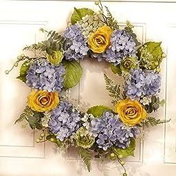 Blue and Yellow Hydrangea Wreath WR4954