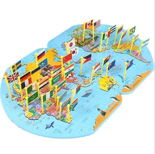 Mapa del mundo Insertar el chico Nacional del rompecabezas del indicador del rompecabezas sabe juguetes geográficas desarrollo infantil Intelectual formación pensamiento lógico juguetes preescolares: Amazon.es: Hogar