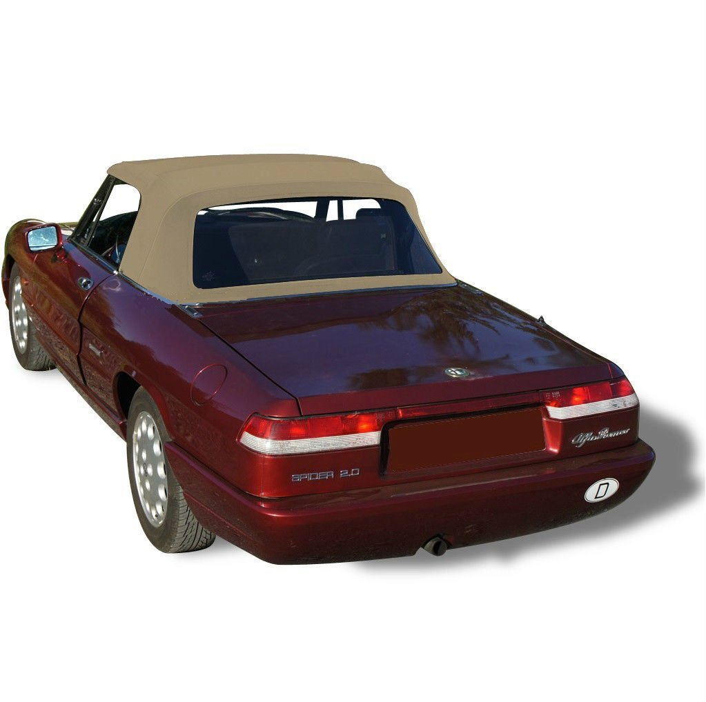 Compatible With Alfa Romeo Spider, Veloce, Graduate Convertible Top Replacement & Plastic window 1971-1994 Stayfast Cloth (Tan)