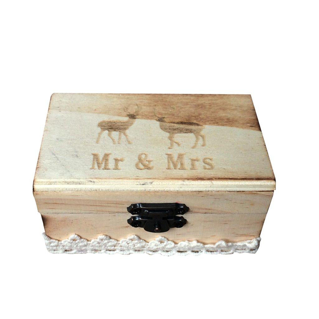 Jili Online Wedding Party Wooden Ring Bearer Box Ring Box Ring Pillow Box Lover Gift Box