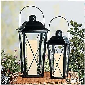 Black Metal Indoor Outdoor Lanterns Set of 2