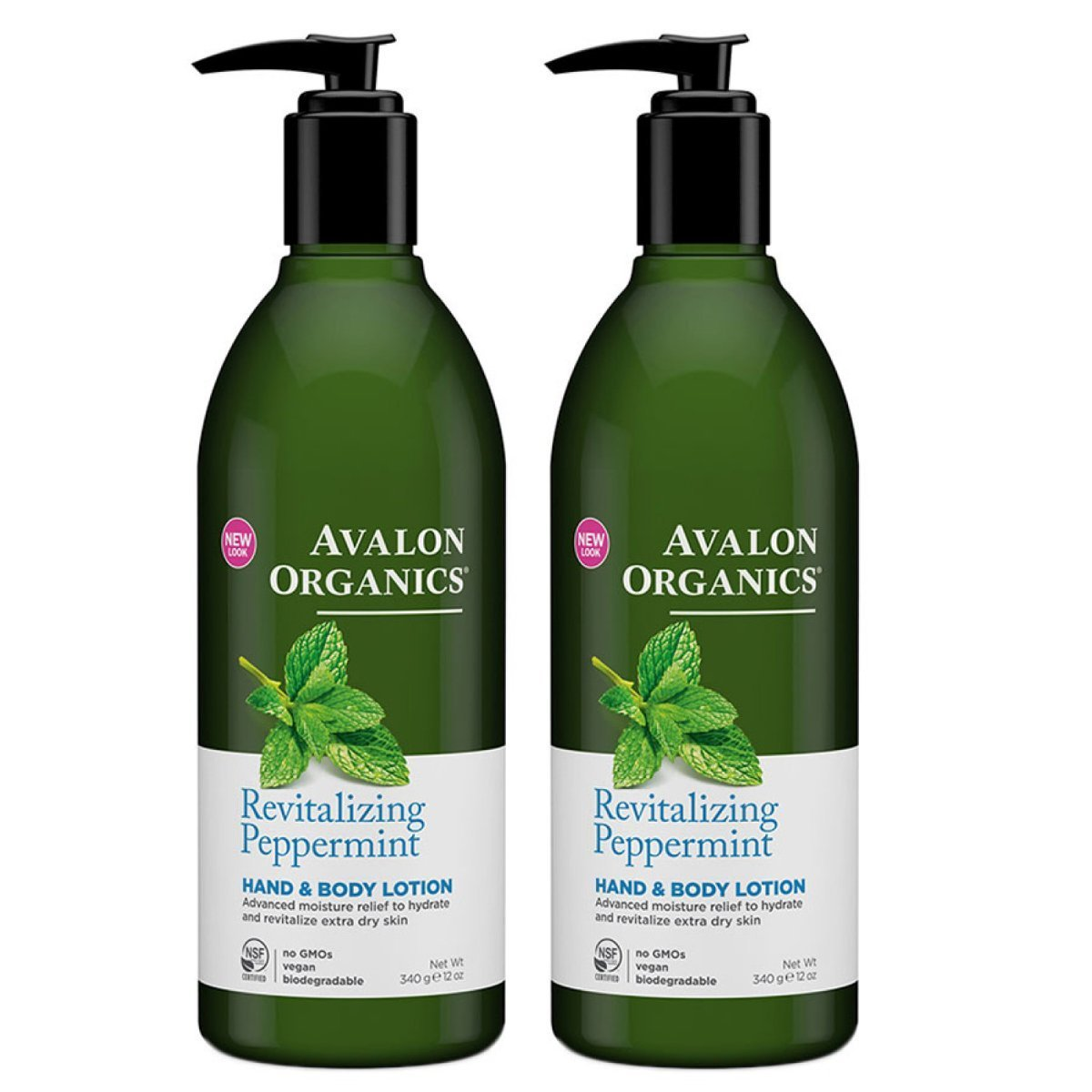 Avalon Organics Hand and Body Lotion Peppermint With Organic Peppermint Essential Oil, Organic Aloe, Vitamin E and the Rich Oat Nutrition of Beta-Glucan, 12 oz (340 g) (Pack of 2)