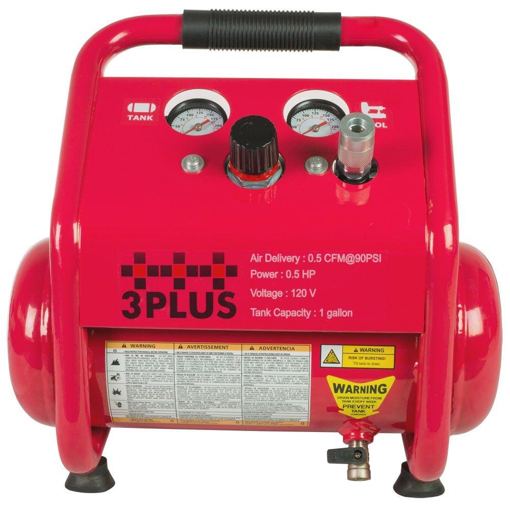 Amazon.com: 3PLUS HCB0504M02 1 Gallon Quiet Air Compressor, Portable, Oil-Free Air Compressor, w/11 Piece Accessory Kit Including Air Hose & Blow Gun: Home ...