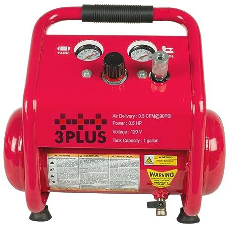 Amazon.com: 3PLUS HC0504GM Induction Oil-Free Quiet Air Compressor Portable Trim Compressor, 2X the Life, 1 Gallon: Home Improvement