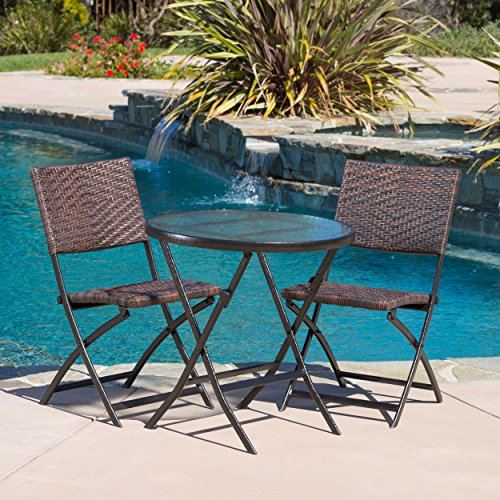3-piece Wicker Bistro Set, This Outdoor Folding Set Comes with One Table and Two Chairs. Indoor or Outdoor Patio Furniture. Scented Tart Includedi (Outside Table And Chairs For Sale)