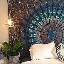 Montreal Tapessier Blue dorm blu hippie Tapestry , Bohomein art,bedsheet, Hippie Gypsy Wall Hanging , picknic blanket , New Age Dorm Tapestry (Multi/Black)