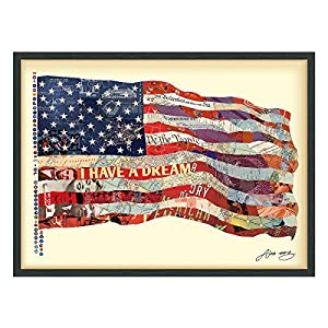 """Empire Art Direct """"Old Glory"""" Dimensional Art Collage Hand Signed by Alex Zeng Framed Graphic Wall Art"""