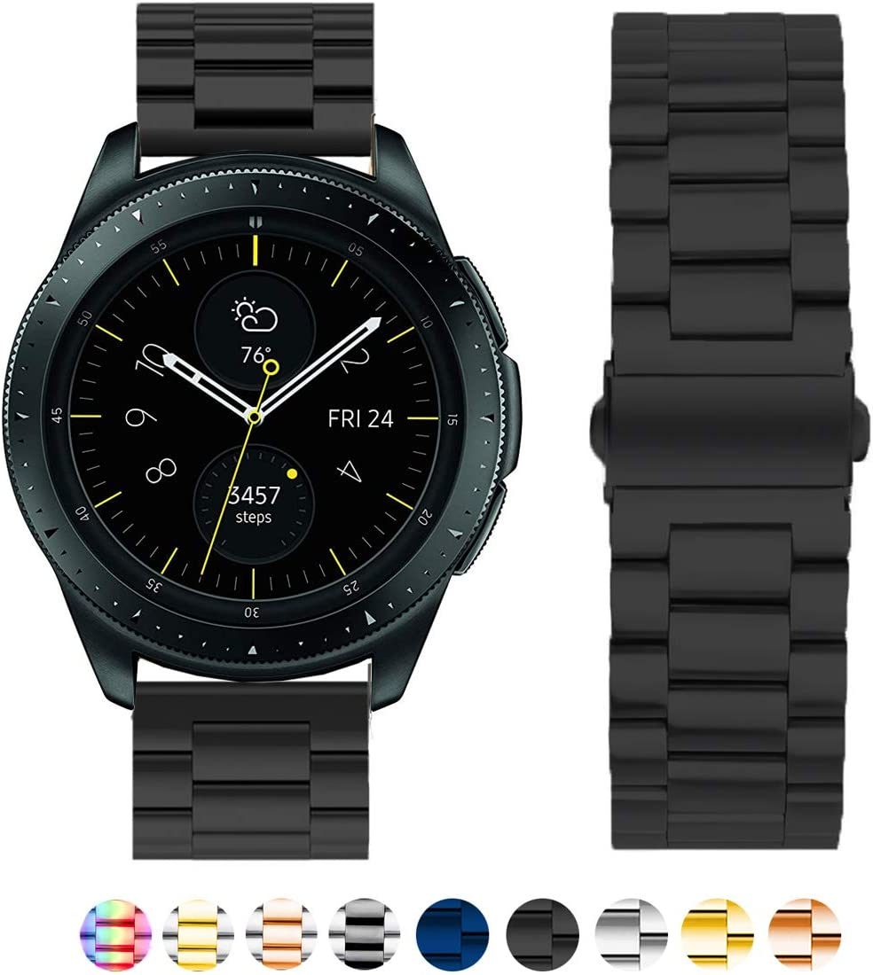 SPINYE Band Compatible with Galaxy Watch 42mm / Active/Active 2 40mm 44mm, 20mm Soild Stainless Steel Metal Replacement Strap for Samsung Gear Sport/Galaxy Watch 3 41mm Women Men (Black)
