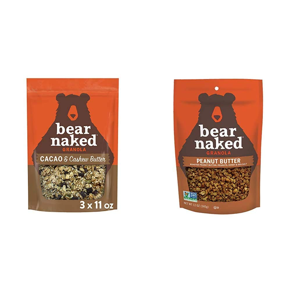 Bear Naked Cacao and Cashew Butter Granola - Non-GMO Project Verified - 11oz Bag (3 Pack) & Peanut Butter Granola - Non-GMO, Kosher Dairy, Vegetarian Friendly - 12 Oz