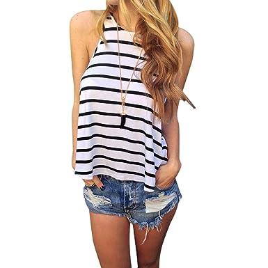 vovotrade Las mujeres verano Stripe Vest t Camisa Blusa Casual Tops: Amazon.es: Ropa y accesorios