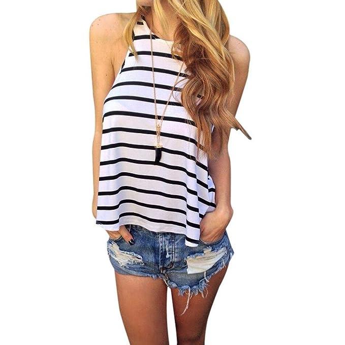 Vovotrade® Las Mujeres Verano Stripe Vest t Camisa Blusa Casual Tops (Tamaño: S