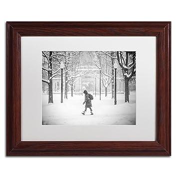 Amazon.com: Winter Campus by Jason Shaffer, White Matte, Wood Frame ...