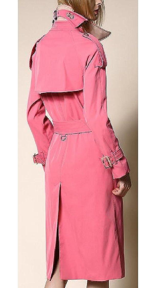 Jaycargogo Womens Lapel Long Sleeve Double Breasted Slim Long Trench Coat with Belt