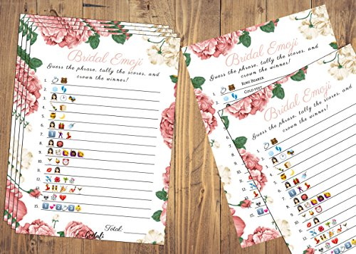 Bridal Shower Games (25 Pack) Emoji Pictionary Games- for Engagement, Wedding and Bachelorette Party. Elegant GOLD and FLORAL Designs for Adult, Co-ed, Men, Women, Couples (PINK FLORAL) by CENTALI (Image #1)